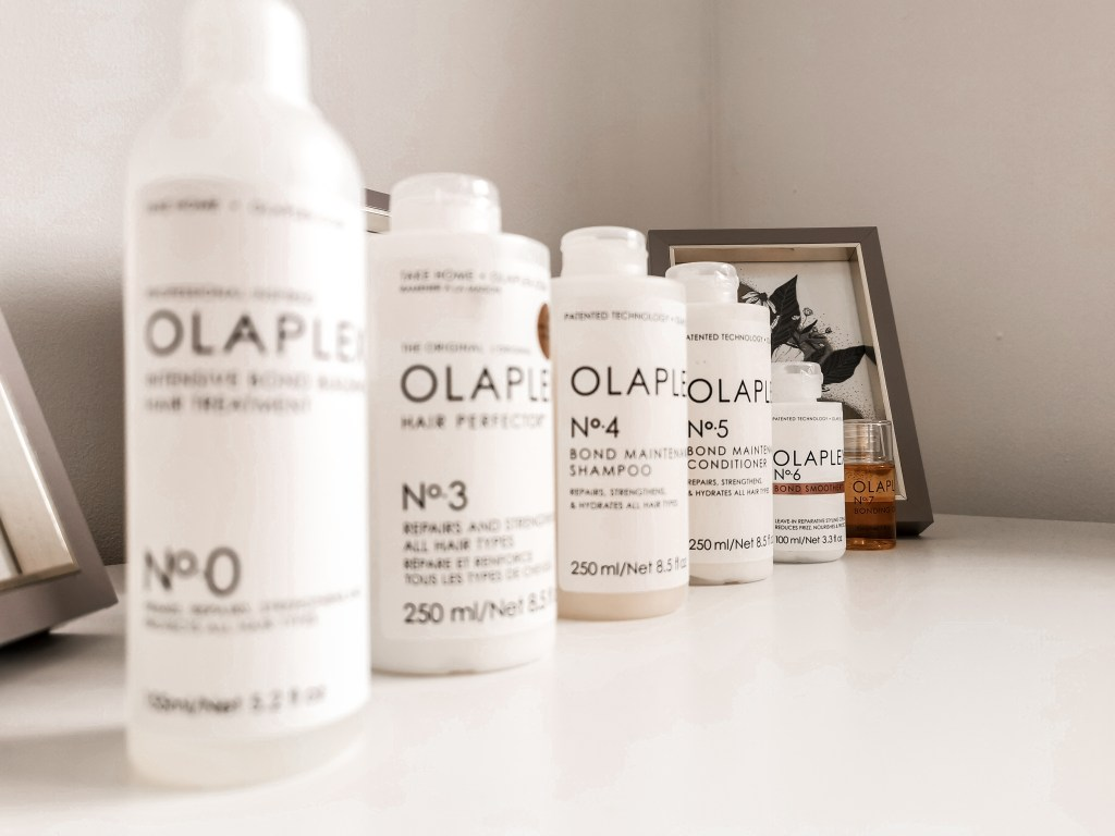 Range of Olaplex products in a row