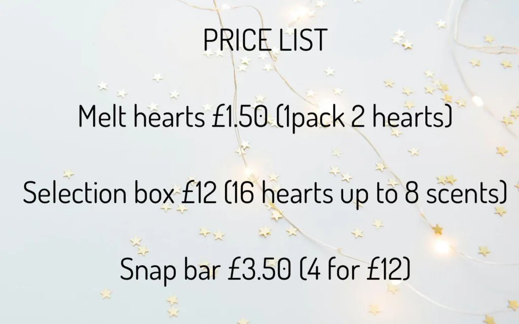 Price list for G & P Melts