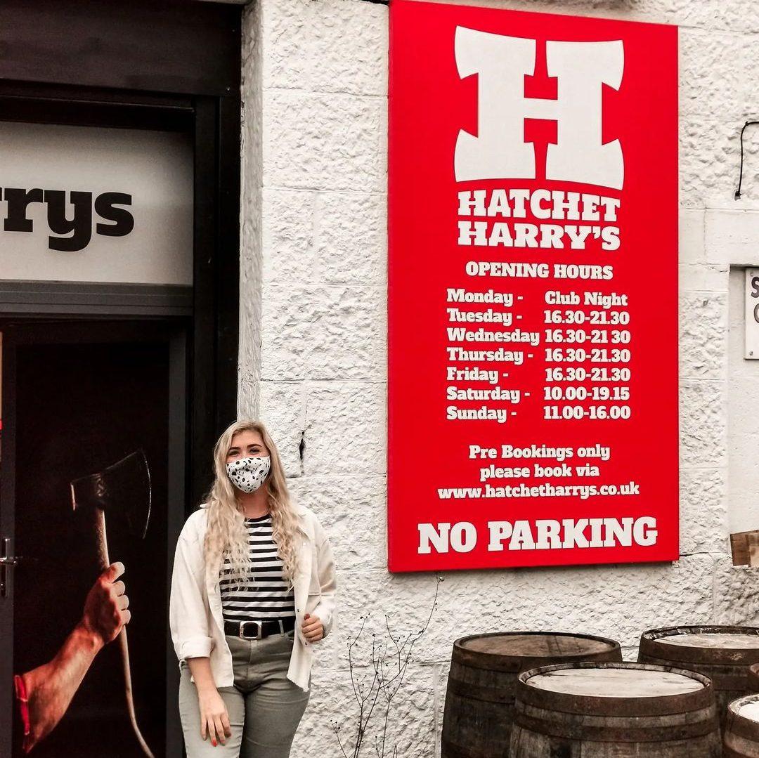 Holly standing outside Hatchet Harry Aberdeen