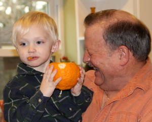 Little Man did not think the orange peel tasted too good!