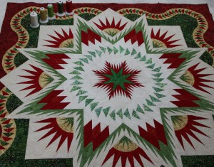 The overall quilt after quilting
