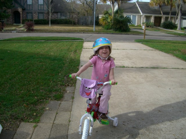 "And she is peddling!  I would chant ""just keep peddling, just keep peddling"" (like Dory in Nemo)"