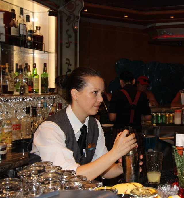 Elle preparing cocktails!