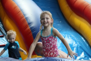 She loves the water slide!