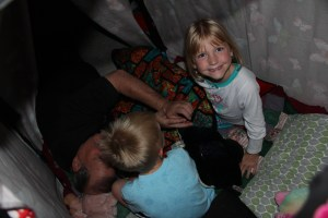 Getting ready to sleep in the fort!