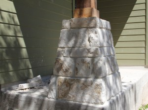 The quilt studio porch with a stone column!  Hind-site we might've made this porch bigger......