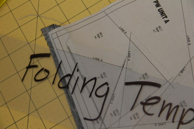 I place my folding template on SOLID line 3 and fold back the paper.