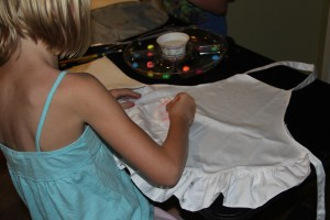 Then we were on to apron painting!
