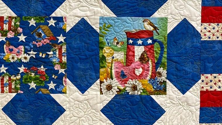 Patriotic Quilt View 2- Edge-to-edge Quilting