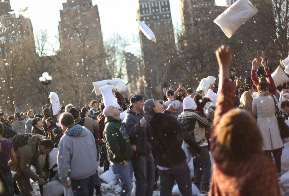 Pillow fight in Washington Square Park