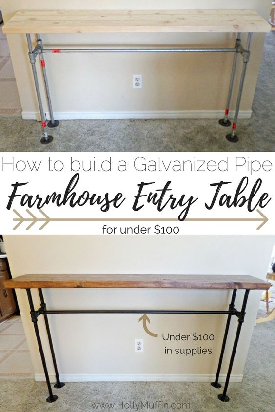 DIY pipe farmhouse entry table