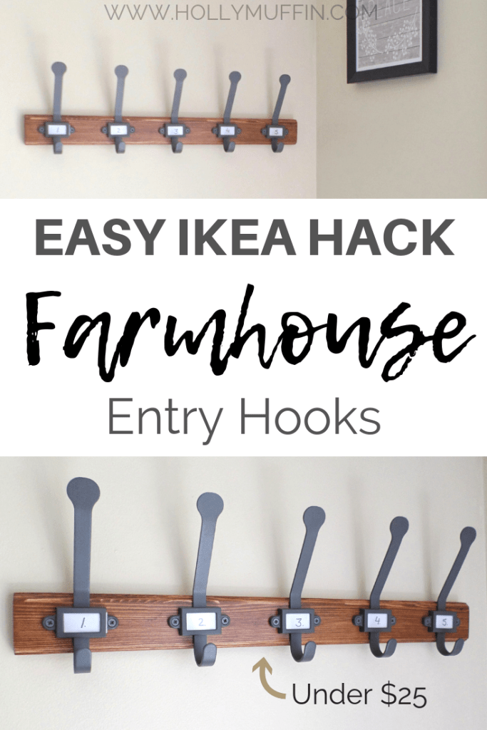 Easy IKEA hack farmhouse entry hooks. So simple!