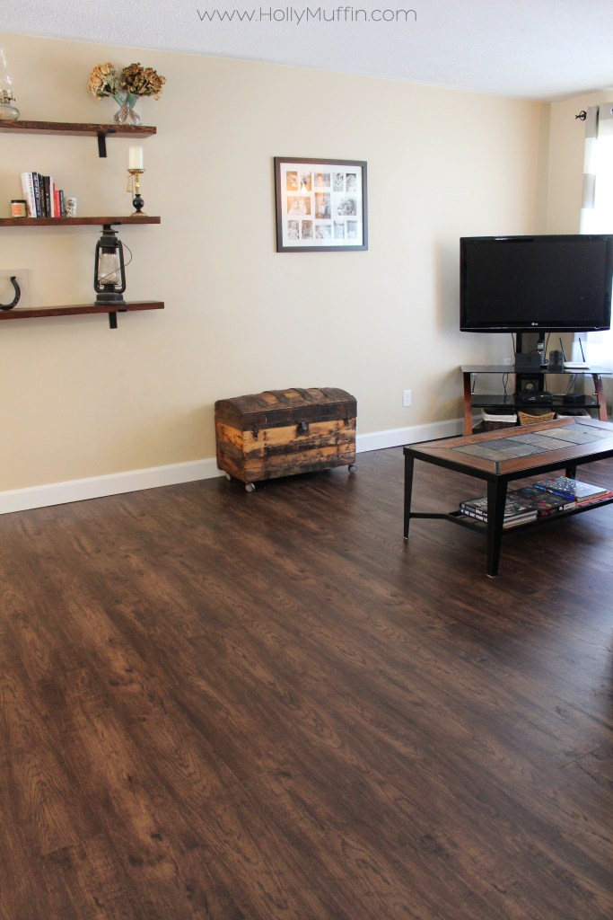 Living room with Golden Select Smokey Barrel vinyl flooring