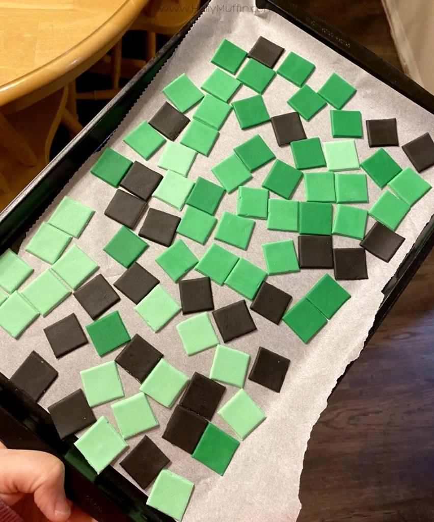 Minecraft creeper cake squares