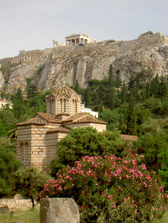 The Parthenon overlooking the Church of the Holy Apostles in Ancient Agora, Athens.