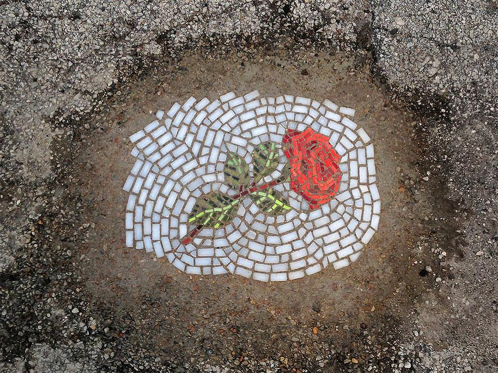 pothole mosaic art