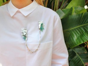 Glasshouse Double Brooch (detachable chain to be worn seperately) - £530