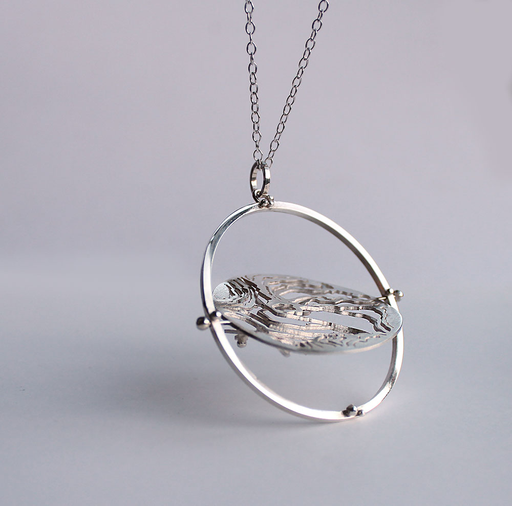 Mount snowdon spinning silver contour map pendant holly suzanna mount snowdon spinning silver contour map pendant mozeypictures Images