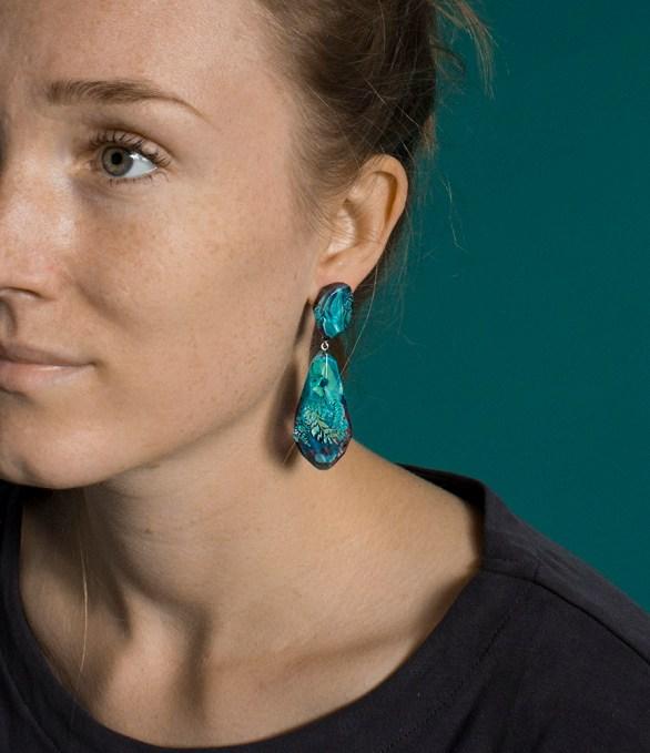 Botanical Gemstone Statement Earrings