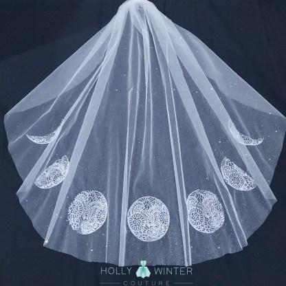 Ivory fingertip veil moon phases
