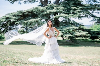bride in cathedral veil desination wedding holly winter couture