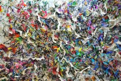 """Hidden Inheritance,"" (Overview) Paper, plastic bags, string, tulle, garland, 7'H x 10'L x 3″D, 2014"
