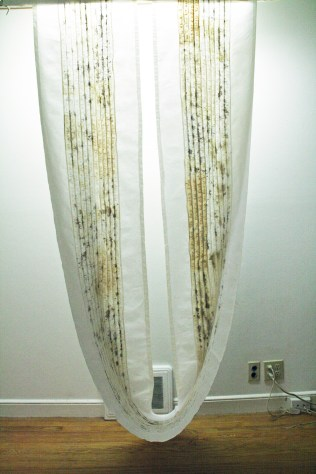 """""""Lost Language I,"""" (Overview) 2011/1995, Cotton, thread and blood, 6'H x 3'W x 2'D."""