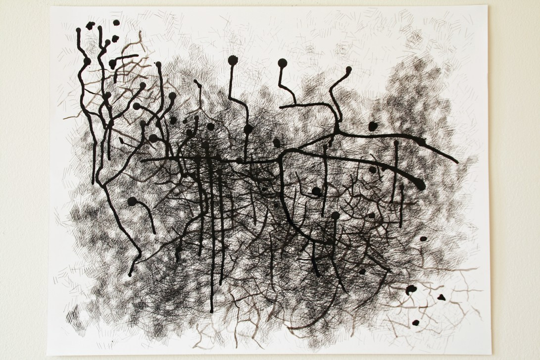 """2.  """"Pathway,"""" (series of 2), 2014, Ink on paper, each measuring 19""""H x 24""""W."""