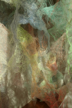 """""""Mind/Mountain"""" (Detail 2), 15'W x 7'H x 9'D, Polyester tulle, thread and monofilament wire, 2018."""