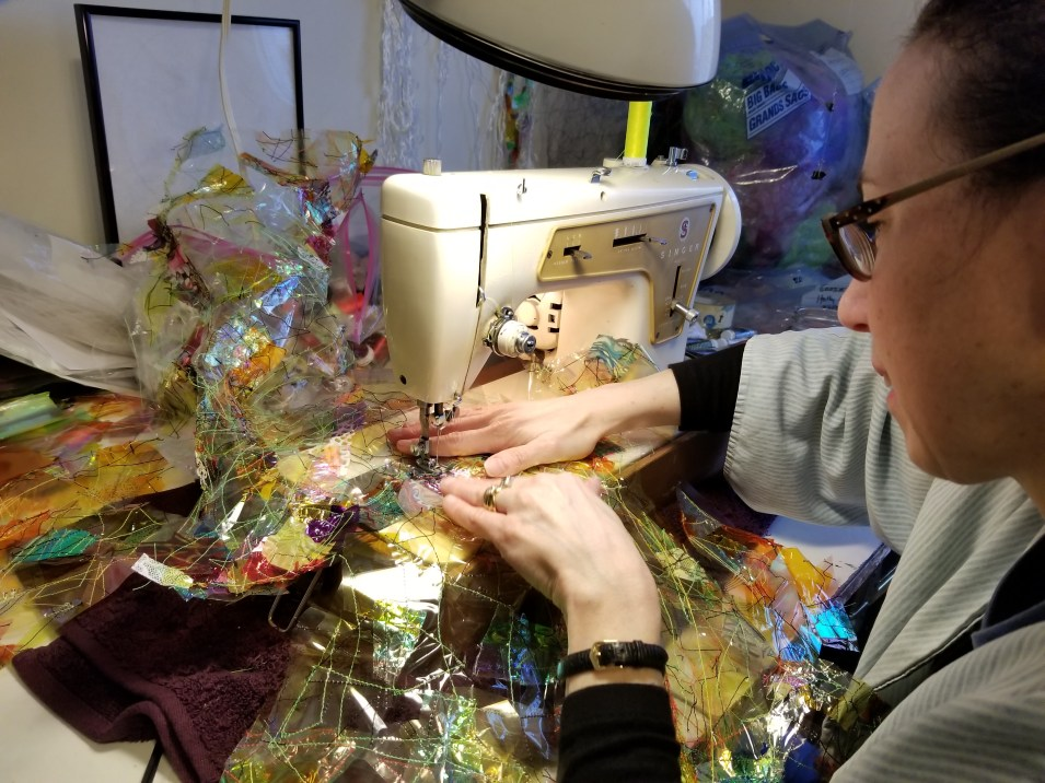 Holly at sewing machine