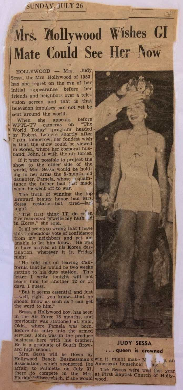 Newspaper story about Judy Sessa's husband, away at war.