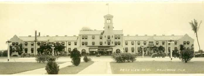 Hollywood/Park View Hotel, built 1922. West façade overlooking Circle Park. Designed by Rubush & Hunter in Young's chosen Mission Revival style. Courtesy Hollywood Historical Society.