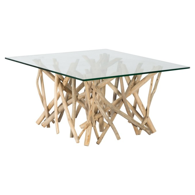 Teak-supported Glass Table