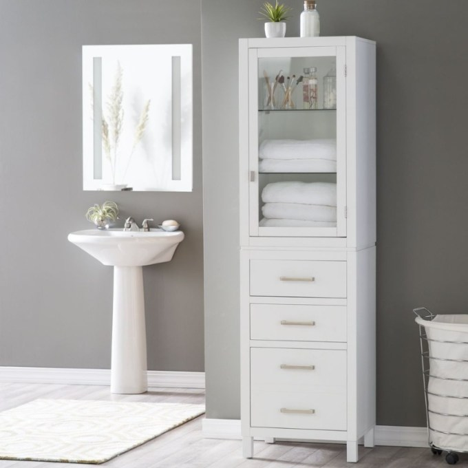 see-through and closed cabinet