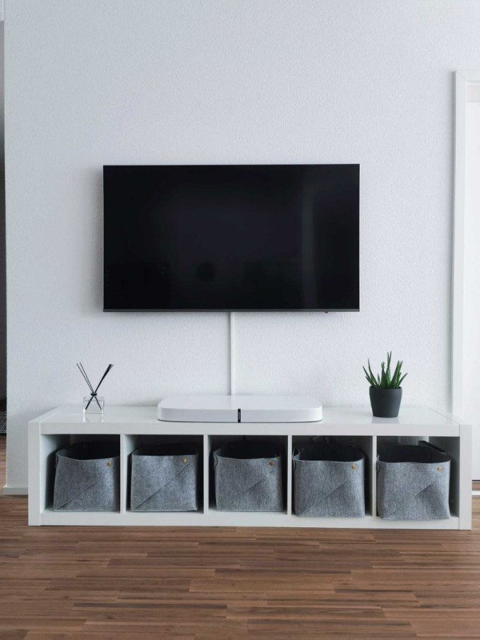 Simple TV Cabinet with Cloth Baskets