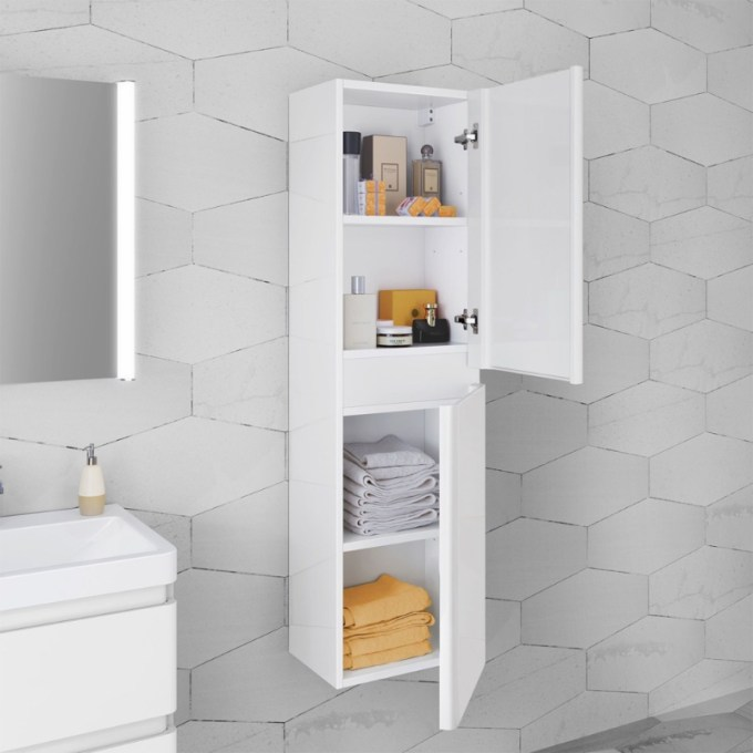 Wall-mounted White Bathroom Cabinet