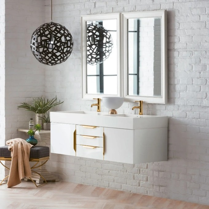 Floating Cabinet with Gold