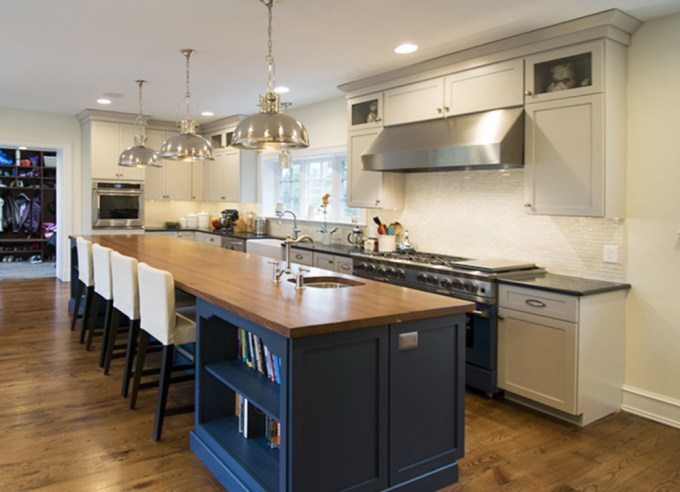 Blue Island with Wooden Countertop