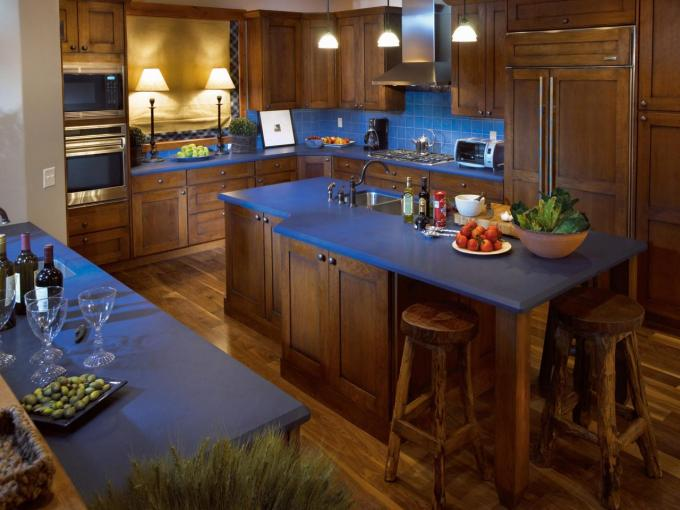 Rustic Kitchen with Blue Countertops