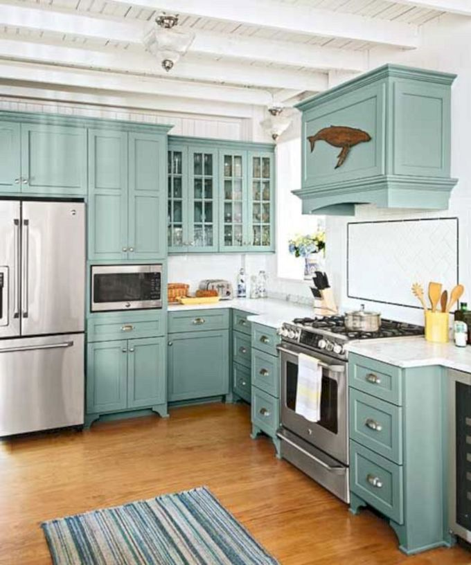 Teal All Over Cabinets