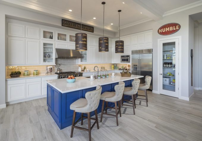 White-Gray Kitchen with Contrasting Island