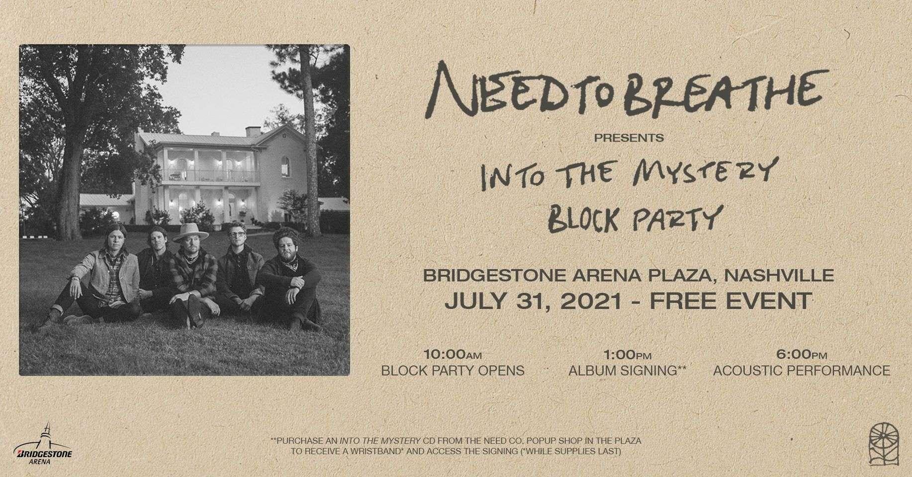 """NEEDTOBREATHE To Host Free """"Into the Mystery"""" Block Party at Bridgestone Arena Saturday"""