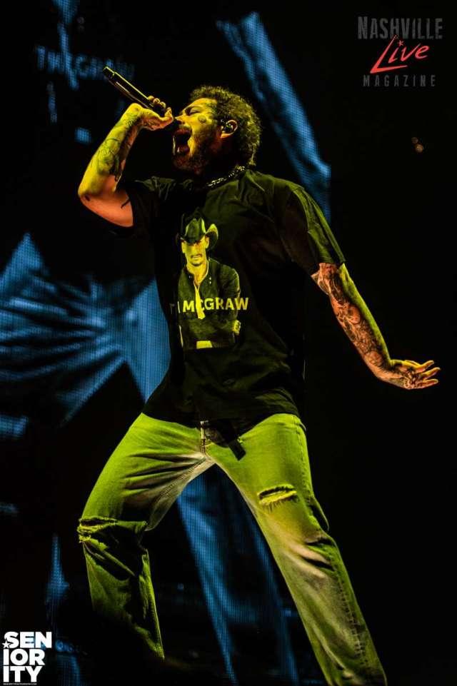 Post Malone in a Tim McGraw tshirt at Bridgestone Photo by JB Brookman Photography Seniority Nashville Live
