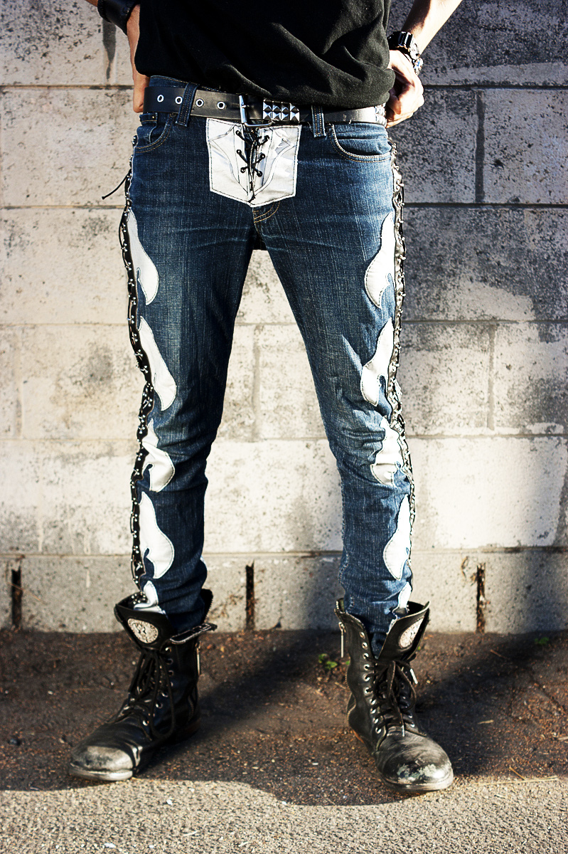 New Custom Rock Pants Jeans Shiny Silver Axe Sides Lace
