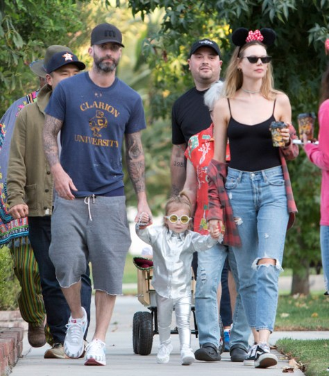 Adam Levine Wears A Dress In Adorable New Family Photo With Wife & Daughters: 'Girls Just Wanna Have Fun'