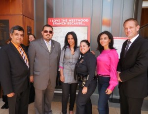 Roozbeh Farahanipour President of the West LA Chamber of Commerce, Board members of the Chamber Greg Martayan, Elham Yaghoubian, Farangis Siahpour and Steve Little Board member with Police Captain Tina M. Nieto, Commanding Officer West Los Angeles Area in the center. Photo courtesy of HPC
