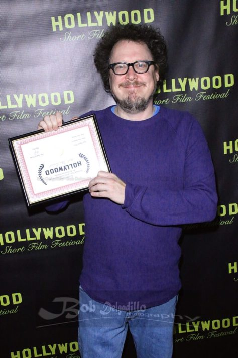 Dominic with his award for best animated film. Photo courtesy of Vida G.