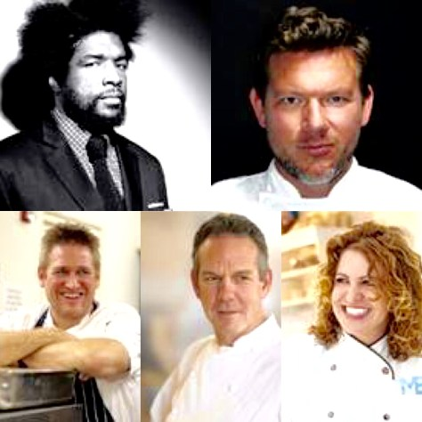 "Left to right, Ahmir ""?uestlove"" Thompson, Tyler Florence, Michelle Bernstein, Curtis Stone, Thomas Keller"