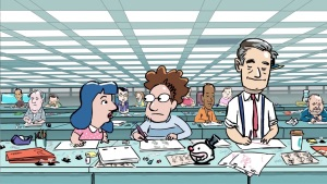 "Animated still of Janeane Garofalo, Polcino, and Fred Willard playing characters trying to find meaning in their daily grind in ""Lovesick Fool-Love in the Age of Like"""