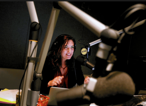 KCRW's Madeleine Brand on-air. Photo courtesy of Christina House/The LA Times